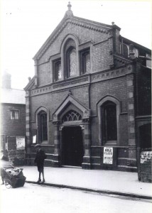 The ornate new frontage added to the Wesleyan Chapel (New Park Rd) in 1893. The boys have a heavy handcart for delivering coal from a store next to the Canal Tavern opposite