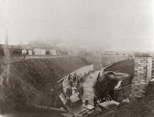 Rebuilding the bank by the Maltings sidings looking from the railway bridge, c.1920