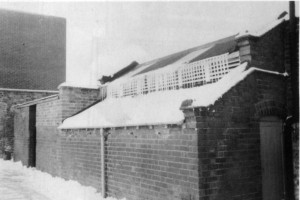 Lancasterian School outside toilets in winter. The original caption was The 'You-know-where' ICY but not FROZEN