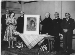 Father Harry Bird (3rd from left), vicar of All Saints (1931-61) receives a leaving present