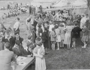 The Castlefields Carnival Show on the field by the river c1951