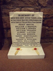 The Wesleyan War memorial rescued when the chapel was demolished. It has now been cleaned and is in All Saints Church