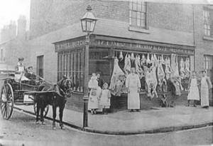 Holl's butcher's shop – c1900, North Street/Benyon Street corner