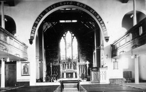 The original interior of St. Michael's church before conversion. Note the balconies on either side