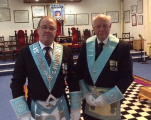 Freemasons in regalia in the Lodge on the first floor of the former St. Michael's Church
