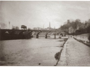 The river and the stone railway bridge, 1864